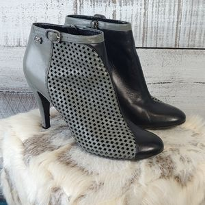 Chanel two tone perforated heeled booties